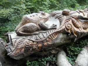 Fern carving on felled tree, Nymans Woods, taken on 31st August 2014