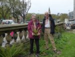 Alison Evans and Michael Hayward choosing sites for the new ferns.