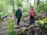 Gordon and Sue Roberts in the newly landscaped area.