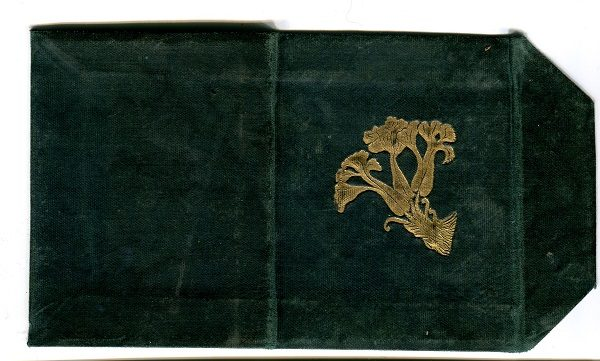 Green velvet exterior, with a crested Hart's Tongue design in gold.